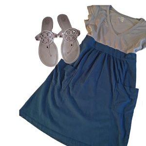 Gray & Blue Colorblock T-Shirt Dress w/ Pockets